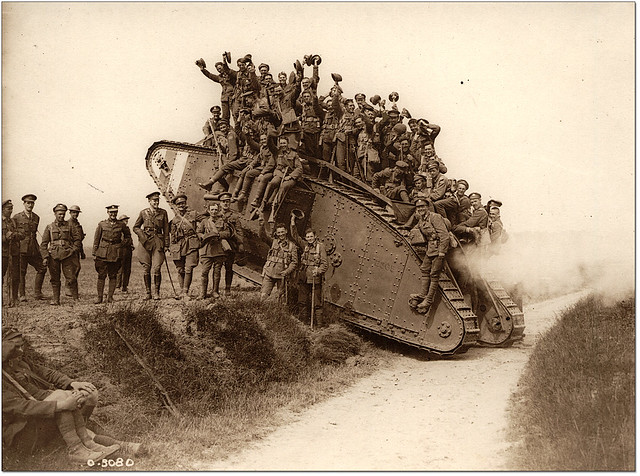 World War I tank with soldiers